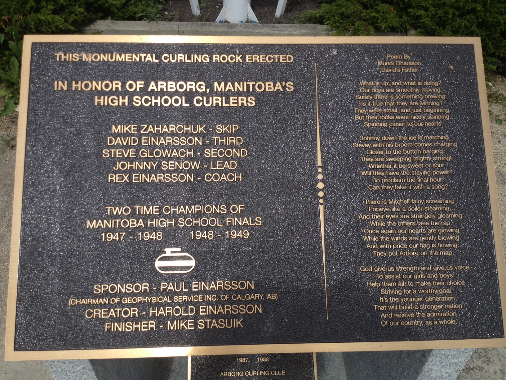 Dedication Plaque-Worlds Largest Curling Rock